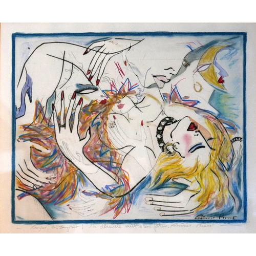 238 - A limited edition dry point etching, depicting two lovers, indistinctly signed, with Railing gallery...