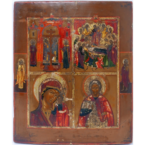 42 - A Russian icon in four registers depicting the Mother of God of Kazan, the Dormition of the Mother o...