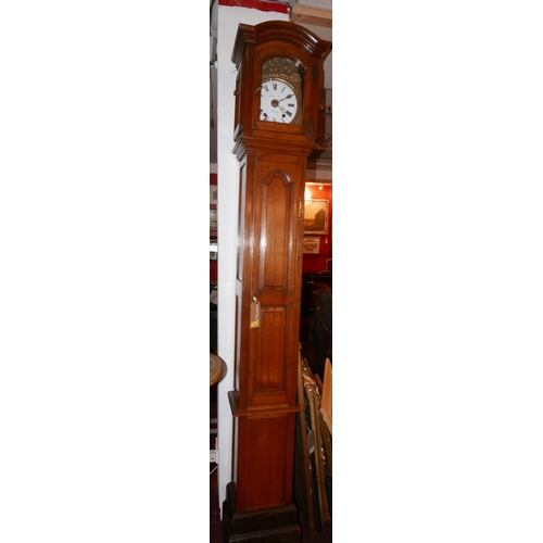89 - A French walnut associated longcase clock, with comtoise movement by Leurin Pere a Crecy, H.250cm...