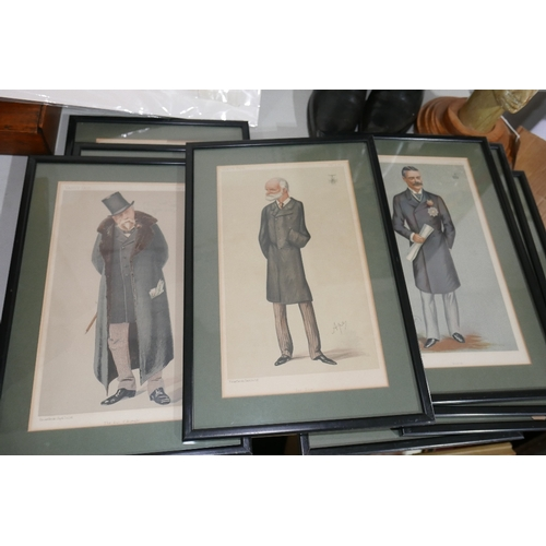 60 - A collection of eleven Vanity Fair prints depicting politicians and other caricatures, dates ranging...
