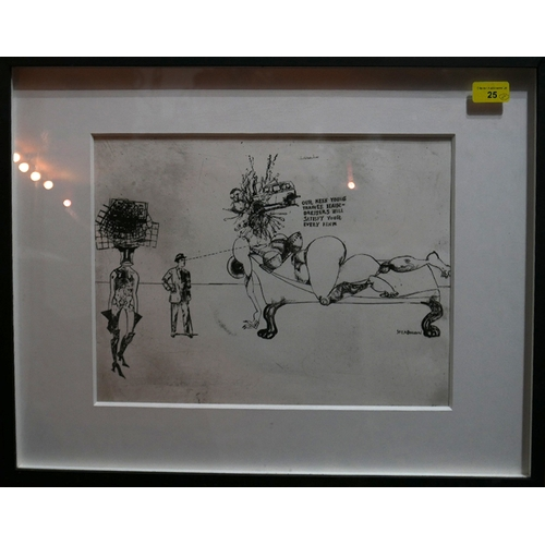 25 - An etching of a Ralph Steadman drawing with original signed drawing of a figure on wrote paper...
