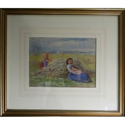 82 - In the manner of Birket Foster, two girls in a field, watercolour, bears monogram to lower left, 14 ...
