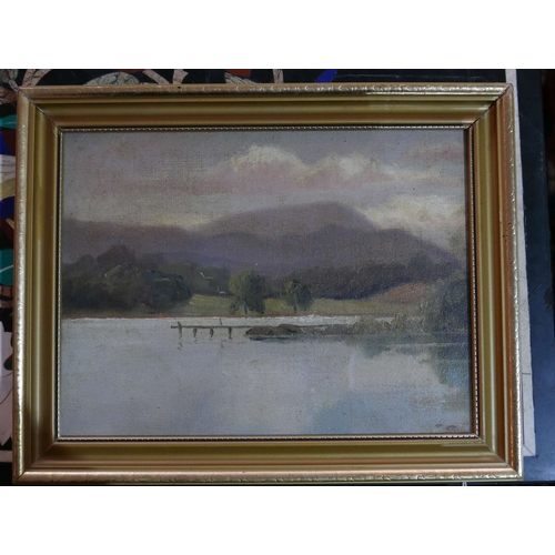 189 - Mid 20th century school, A lakescape study with mountains to background, oil on canvas laid down on ...