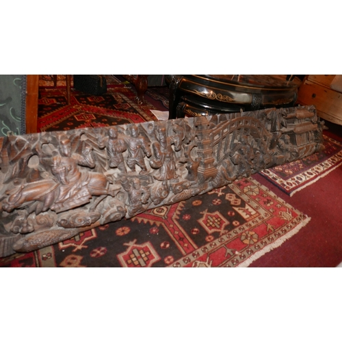 275 - A large and impressive 19th century Chinese carved hardwood plaque, deeply carved with pagodas, brid...