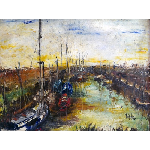 65 - Emil Fritzky (pseudo Kritzky) (1903-1988), Boats in a Harbour, oil on canvas, signed and dated '64, ...