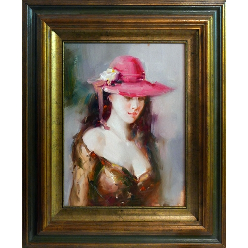 72 - 20th century Continental school, 'Thinking of You...', portrait of a lady, oil on canvas, dated Rome...