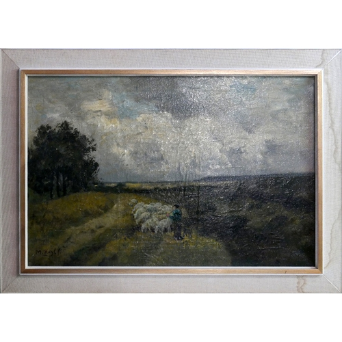 81 - Marinus Heijl (Dutch, 1835-1931), Shepherd with his Flock, oil on canvas, signed, in handmade Heyden...
