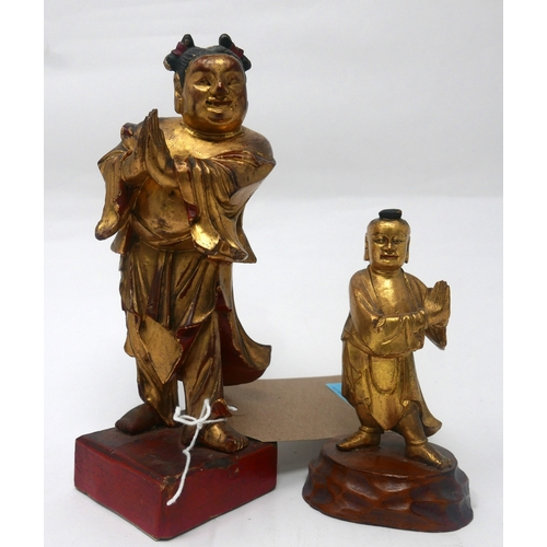 56 - An early 19th century Chinese carved giltwood figure, H.13cm, together with a mid 19th century Chine...