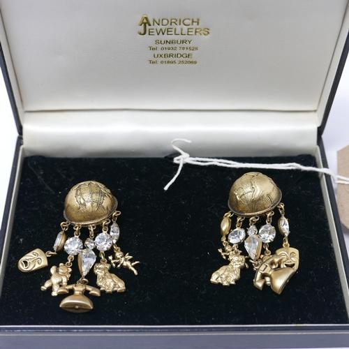 52 - A pair of vintage 1980's designer chandelier style clip earrings by Askew, composed of a half spheri...