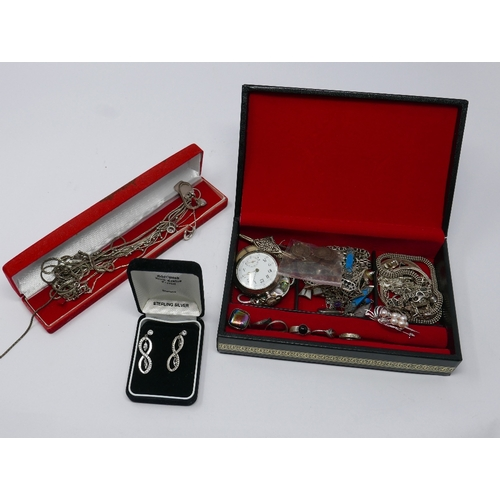 9 - A large collection of sterling silver jewellery to include an 800 silver pocket watch, numerous gem-...