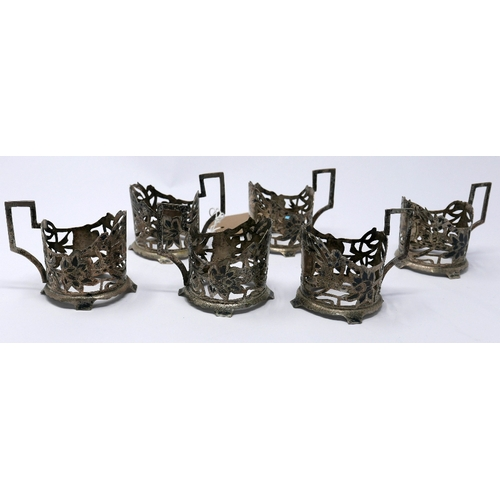 15 - WITHDRAWN-A set of six Iranian silver and niello cup holders...