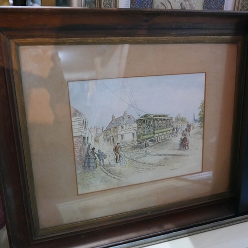 264 - A 20th century watercolour signed Enid Grizzard, together with two other watercolours and an oil on ...