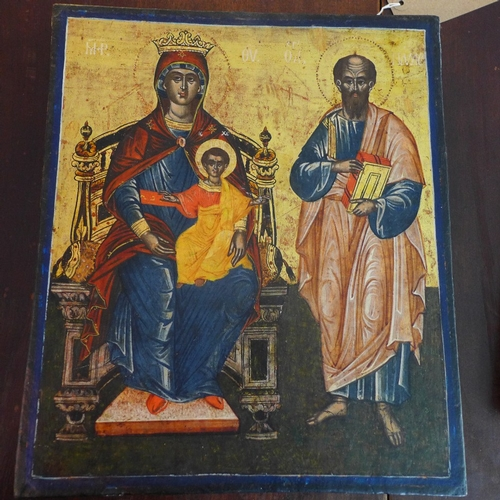 5 - A Greek icon of the Virgin Mother and Child beside St. Paul, H.37cm W.32cm...