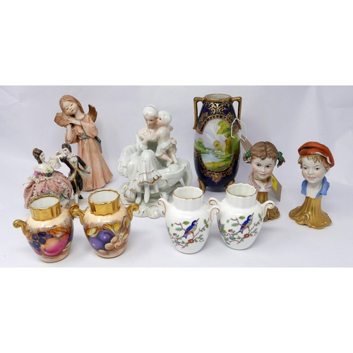 106 - A collection of ceramic and porcelain to include a Noritake vase and a pair of Aynsley porcelain min...