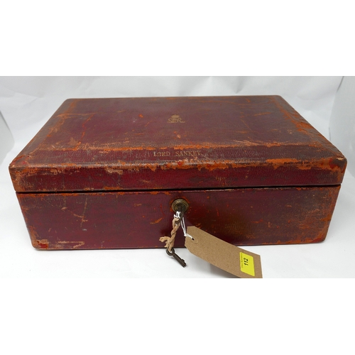 112 - A red leather dispatch box from lord John Sankey, chancellor to Ramsay Macdonald, stamped John Peck ...