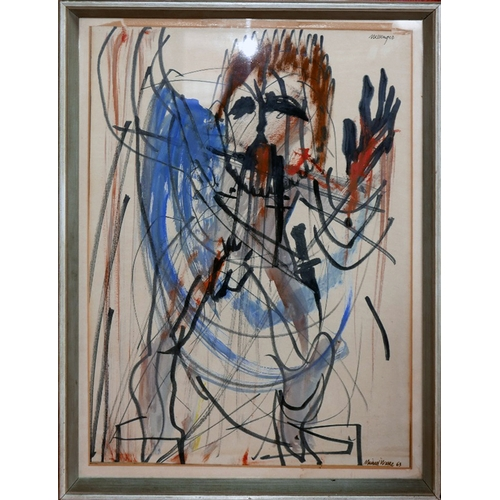 134 - Michael Wavle, a pen and watercolour sketch, titled 'Messenger', signed and dated '63, 51 x 36cm...