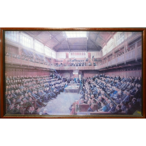 136 - June Mendoza, print of the house of commons with list of members to verso, 61 x 86cm...
