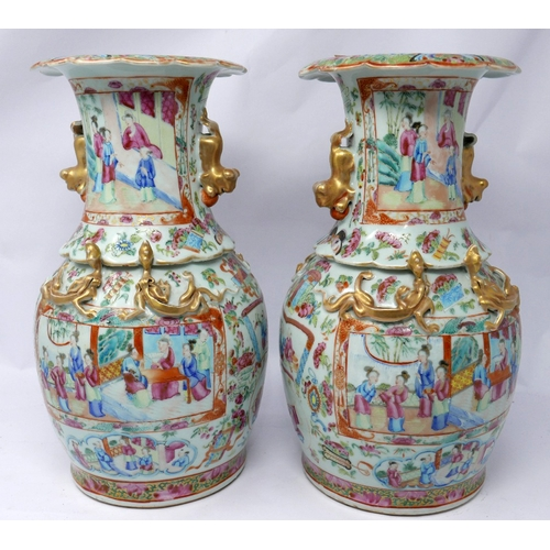 139 - A pair of 19th century Chinese Canton famille rose enamelled and gilded vases, unmarked, H: 33cm, Ri...