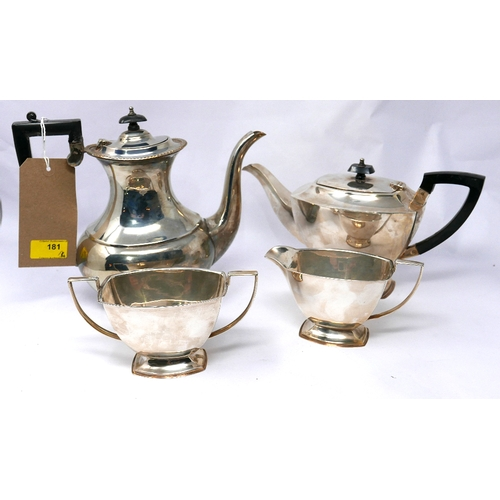 181 - A three piece silver plated tea set together with one other silver plated tea pot...
