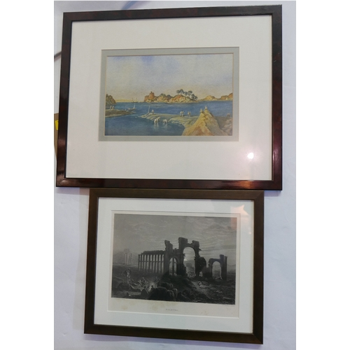 20 - An early 20th century watercolour, coastal scene, signed R.Slater, 17 x 26cm together with a print '...