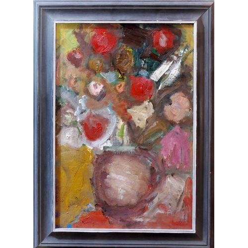 248 - 20th century school, Still life of flowers in a vase, oil on canvas, signed Piper lower right, 65 x ...