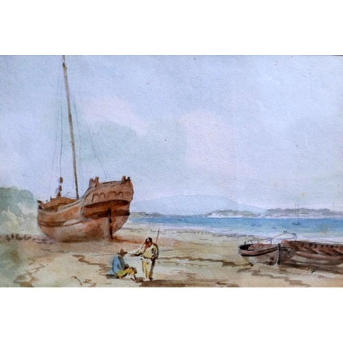 250 - Nicholas Pocock (British, 1741-1821), 'Hoylake', figures by a beached ship, watercolour, in glazed g...