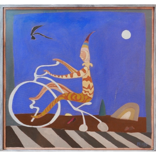 251 - Mid 20th century school, A Jester riding on a penny farthing at night, oil on canvas, signed Packard...