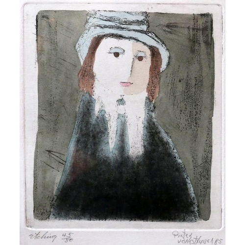 253 - Pieter van der Westhizen (South Africa, b.1931), Portrait of a lady, etching, signed and dated '85 i...