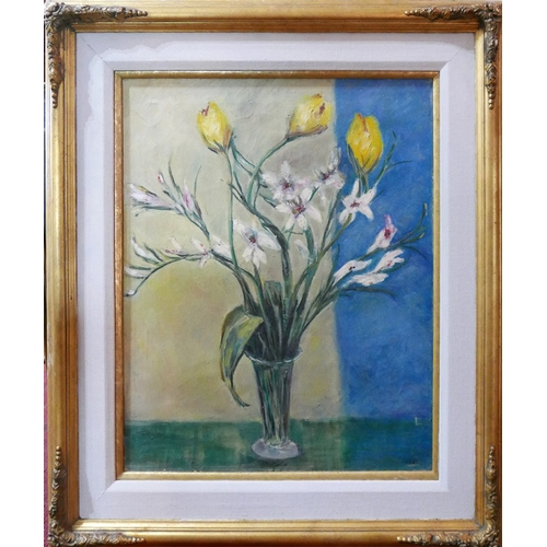 260 - Mid to late 20th century school, Still life of flowers, oil on canvas, signed Hobson to lower right,...