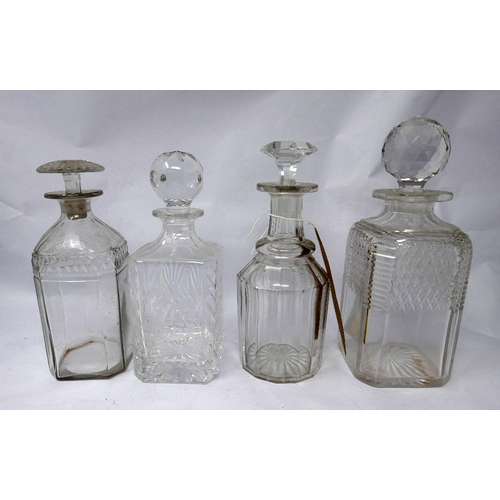 339 - Two 19th century decanters, together with two 20th century crystal decanters (4)...
