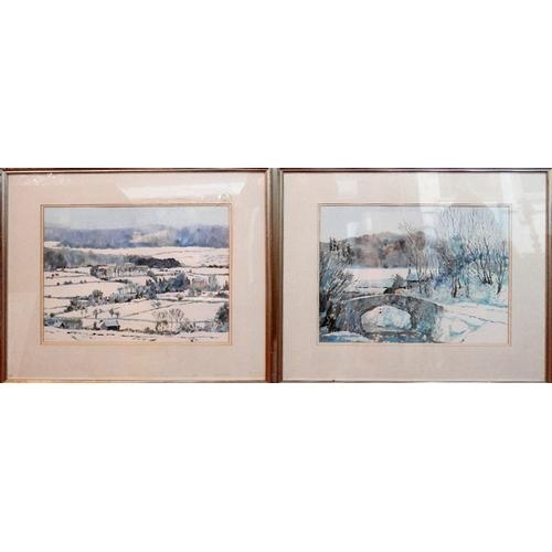 342 - Jo Cooper RMS UA, two winter landscape scenes, monotypes, signed lower left, 39 x 52cm...