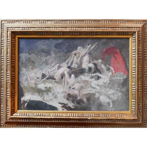 346 - 19th century French school, A Battle scene, oil on board, unsigned, 27 x 41cm...