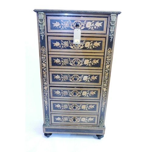 66 - A 19th century French marble top ebony and walnut secretaire with single drawer above drop flap and ...