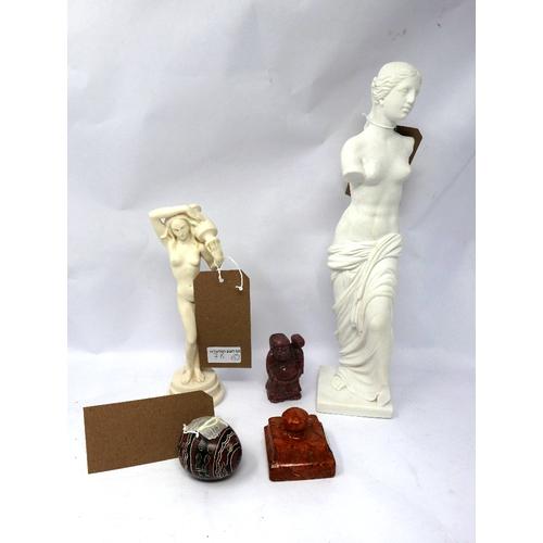 78 - A composite stone Venus di Milo figure, a similar classical figure, a hand painted stone egg, a Chin...