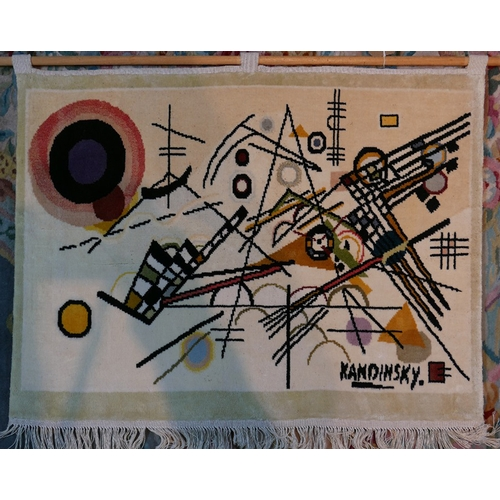 97 - A silk wall hanging with Kandinsky print, 63 x 94cm...