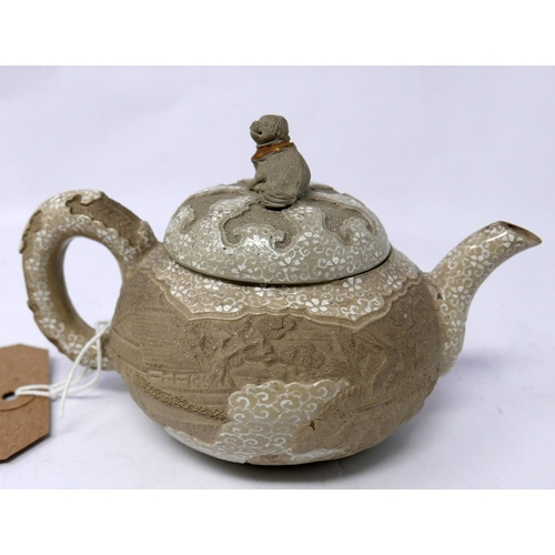 328 - A small 19th century Japanese ceramic teapot, second half 19th century, glazed in part with white fl...