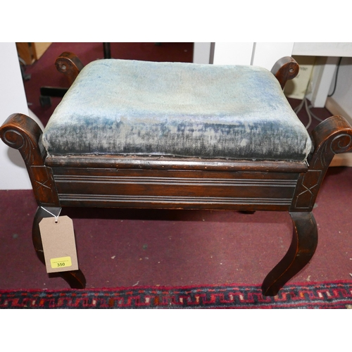 350 - An early 20th century mahogany piano stool with lift up top upholstered in faded blue velvet, H.46cm...