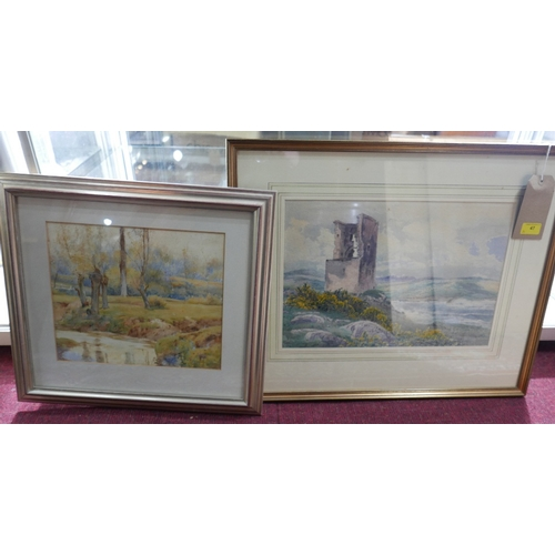 47 - Two gilt-framed watercolours to include a large watercolour of Rosslyn Castle County Cork, 1892, art...