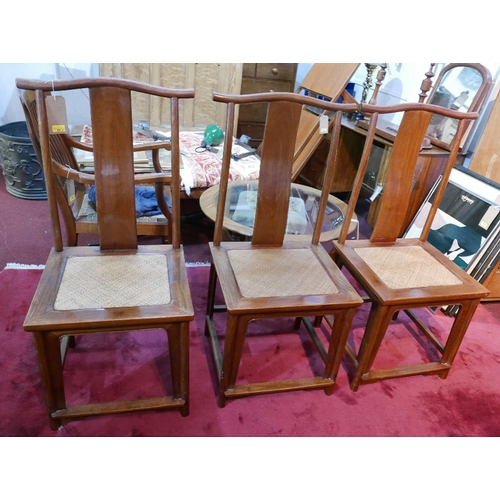 69 - A set of three 'Altfield' Chinese Huang Huali wooden chairs, two with makers plaques...