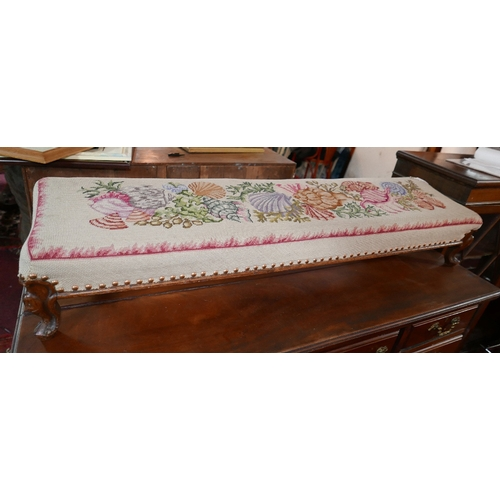 98 - A late 19th century stool with mahogany cabriole legs and needlepoint upholstery with shell and sea-...