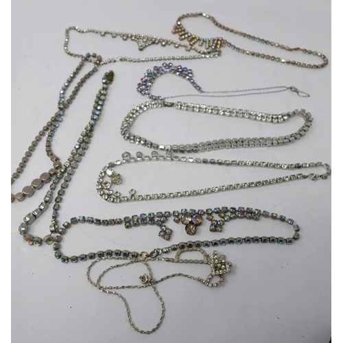 282 - A collection of nine vintage diamante necklaces...