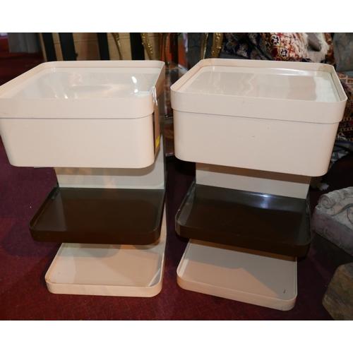 317 - A pair of 20th century Joe Columbo style plastic units, H.60 W.37 D.37cm...