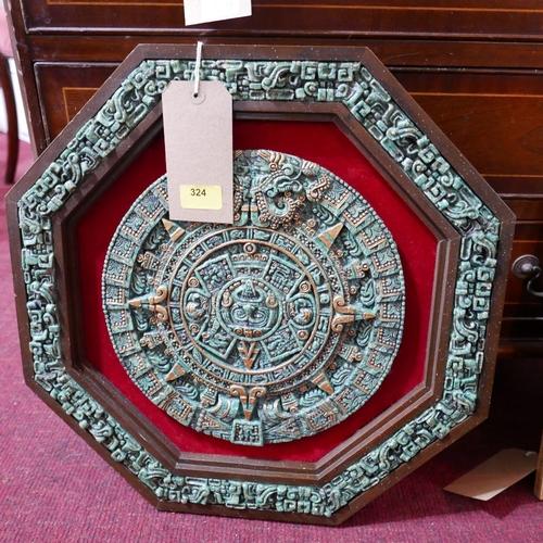 324 - A Mexican Aztec wall plaque, 46 x 46cm...