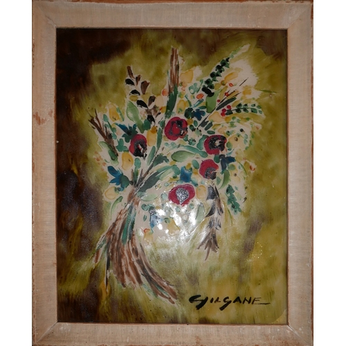 361 - A 20th century still life painting of flowers on glass, signed Gilgane, 34x26cm...