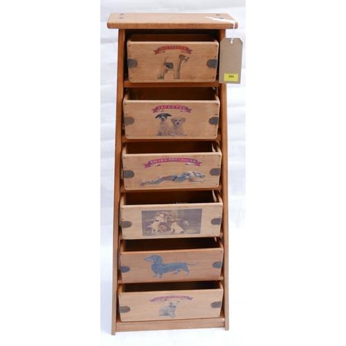 384 - A vintage style graduated set of six kitchen storage crates, H.112cm...