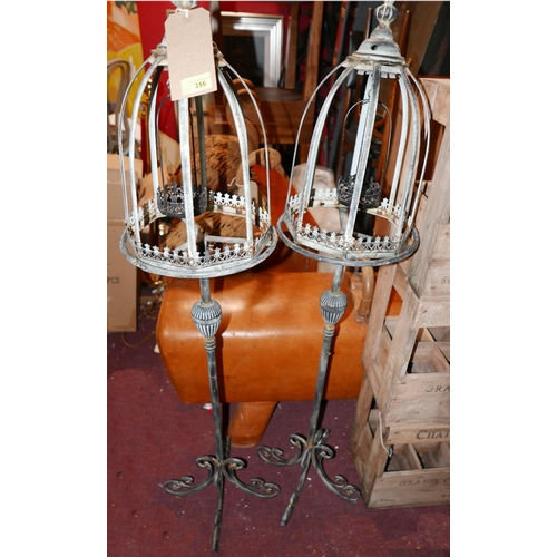 356 - A pair of Regency style storm lanterns in a verdigris finish, H.123cm (2)...