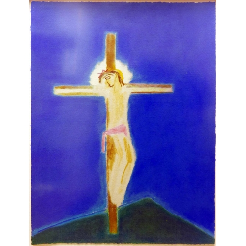 2002 - Craigie Aitchison (British 1926-2009), 'Crucifixion, Green Hill', 2004, screen print, signed in penc...