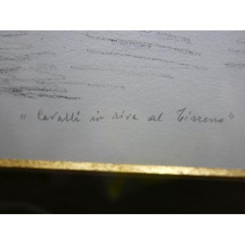 2001 - Giorgio de Chirico (Italian, 1888-1978), 'Cavalli in Riva al Tirreno, Paggio', lithograph, signed in...
