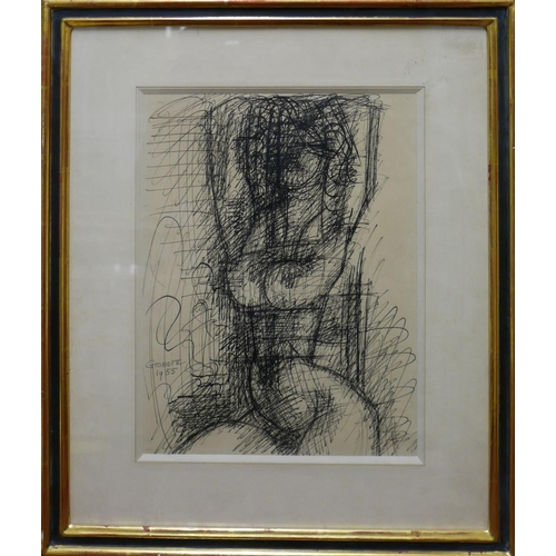 2015 - Marcel Gromaire (French 1892-1971), 'Nude, 1955', ink drawing on paper, signed lower left 'Gromaire'...