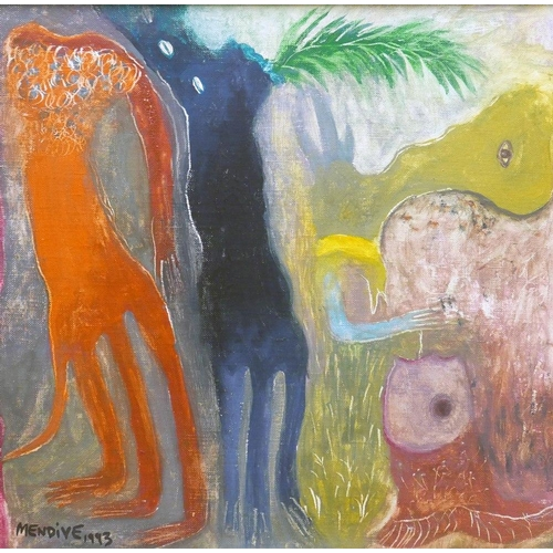 2016 - Manuel Mendive (Cuban, b.1944), 1993, oil on canvas, laid on board, signed and date 1993 lower left...